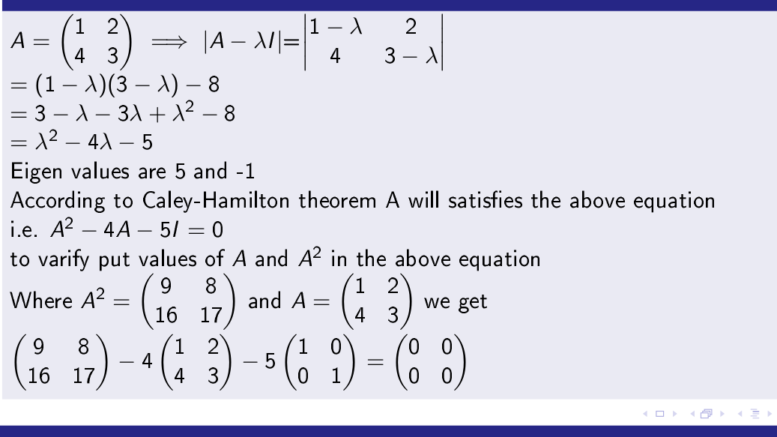 Caley-Hamilton Theorem