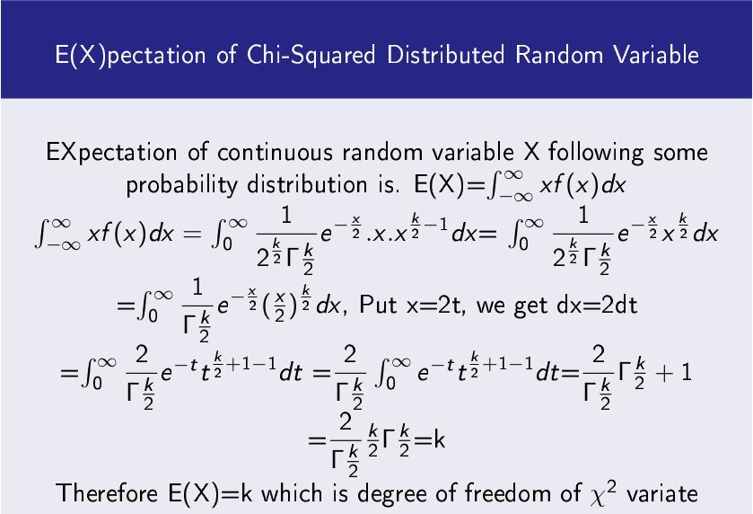 Chi Square Random Variable E(X)