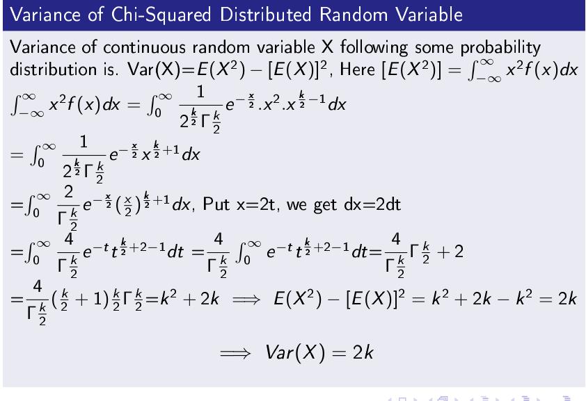 Chi Square Variance Var(X)