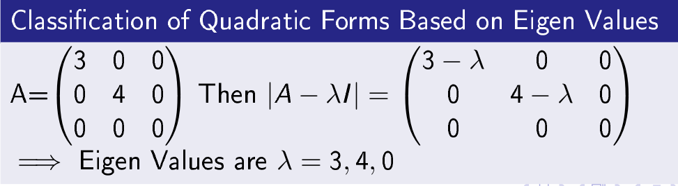 Classification of Quadratic Forms Based On Eigen Values