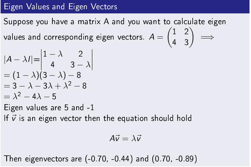 EigenValues and Eigen Vectors