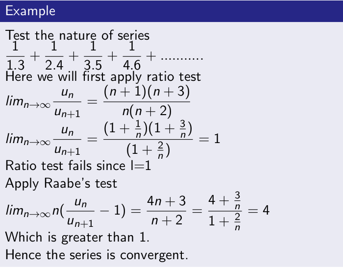 Example of Convergence Test
