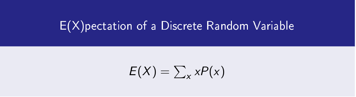 Expectation  is the weighted average of a random variable with its probability.  Suppose you toss three coins, then think of  event to turn heads up.  Random variable associates number of occurence of event to its probability. i.e.  Expectation of random variable X is denoted by E(X).  <h2>1- Expectation of  a Discrete Random Variable X</h2>  The possible values  when you toss three coins. TTT TTH THT THH HTT HTH HHT HHH   X(TTT)=0 X(TTH)=1 X(THT)=1 X(THH)=2 X(HTT)=1 X(HTH)=2 X(HHT)=2 X(HHH)=3  Then  P(X=0)=1/8 P(X=1)=3/8 P(X=2)=3/8 P(X=3)=1/8 Here, P(X) is probability distribution function of random variable X.  Then expected value of random variable X is.  Image-1    <h2>1- Expectation of  a Continuous  Random Variable X</h2>  If X is a continuous random variable and  p(x) is a continuous probability distribution function. Then expectation of continuous random variable  X is.   Let p(x) be defined as   p(x)=3/2 x(x-1) 0<=x<=2 for a random variable X  Then   <h2> Properties of Expectation of a Random Variable</h2> If X and Y are independent random variables 1- E(X+Y)= E(X) + E(Y)  2- E(X.Y)= E(X) E(Y) 3- Is a is a and b are constants then 1- E(aX+b)= a E(X) + b  <h2> Variance of a Ranom variable X </h2> Variance of a random variable is  <h2>Covariance between Two Random Variables X and Y</h2> Covariance between Two Random Variables X and Y is