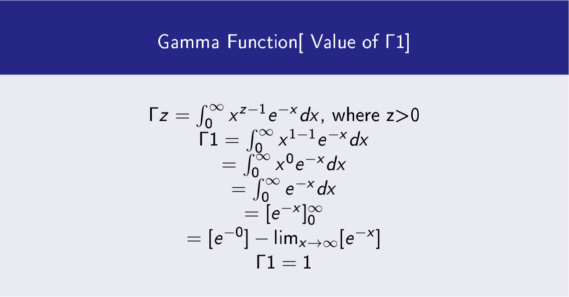 Gamma Function[ Value of Γ 1]