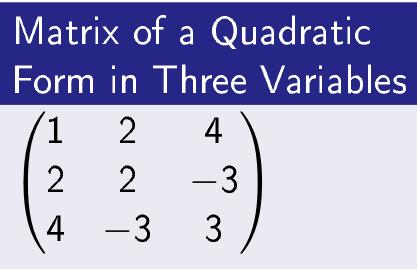 Matrix of a Quadratic Form in 3 Variables