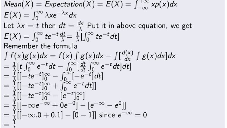 Mean of Exponentially Distributed Random Variable X