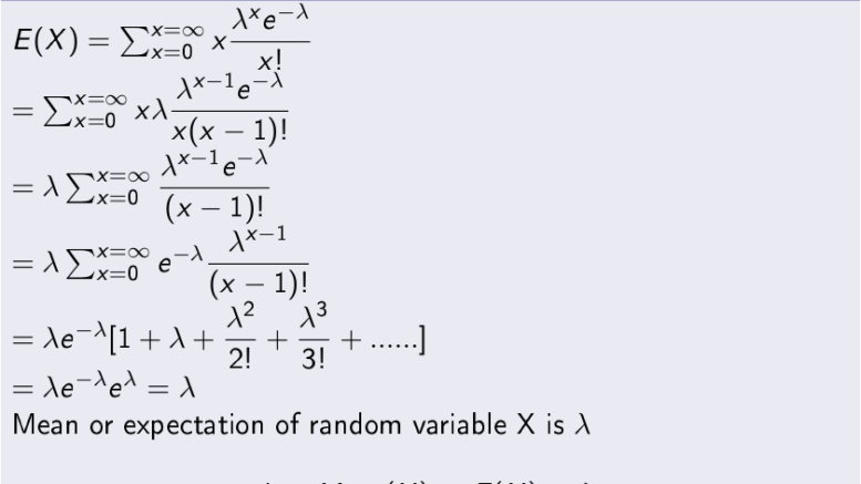 Mean of Poisson Distribution Variable X