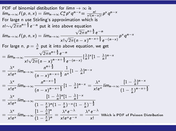 Poisson Distribution as a Limiting Case of Binomial Distribution