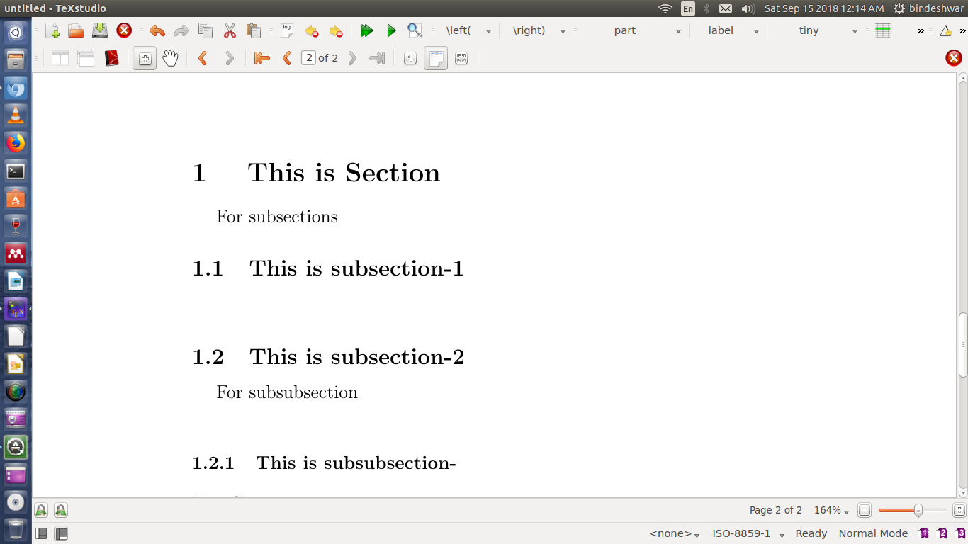 Sections in Latex