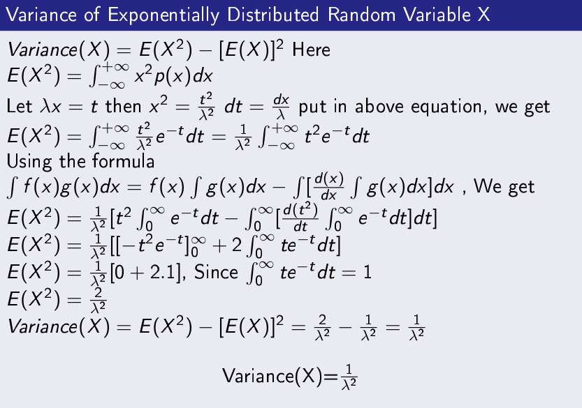 Variance-of-Exponentially-Distributed-Random-Variable-X