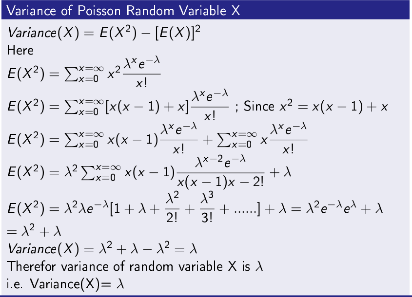 Variance of Poisson Random Variable X